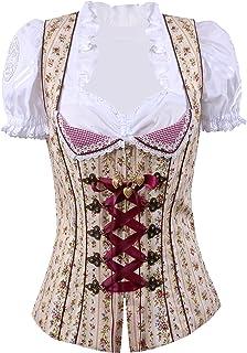 Moschen-Bayern Trachtenmieder Damen Trachtencorsage Dirndlmieder Corsage Mieder Trachten Festlich Schwarz Beige Rot Pink Rosa Blau