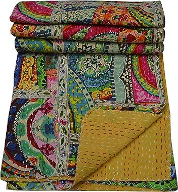 V Vedant Designs Indian Handmade Twin Cotton Patchwork Kantha Quilt