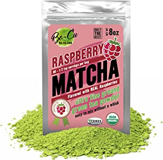 Raspberry Organic Matcha Green Tea Powder - 80 Servings, 8 oz - 2 Ingredients, Natural Flavored Instant Tea for Drinking, Smoothies or Baking, Grade A Matcha