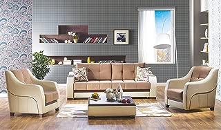 ISTIKBAL Multifunctional Furniture ULTRA Collection (Sofa Sleeper + 2 Arm Chairs) OPTIMUM BROWN