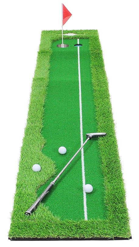 電気急降下ゆりGolfStyle パターマット ゴルフ パター 練習 マット グリーン ライン有 300×50cm 7点セット