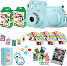Fujifilm Instax Mini 9 - Ice Blue Instant Camera + Fuji Instax Film 40 Shots + Protective Case + Magnetic Acrylic Frame + Album, Hanging Frames, Desk Frames, Filter Set & Selfie Lens 90 PC Design Kit
