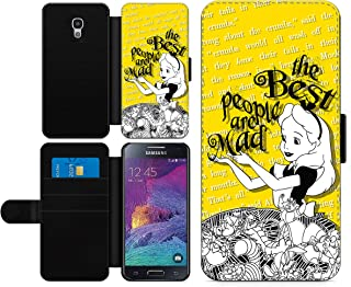c riveras Alice in Wonderland Inspired Phone case Best People are Mad Fan Art Faux Leather flip Wallet Mobile Cover for Samsung Galaxy S4 Mini
