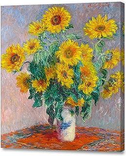 アートパネル 印象派油絵 壁掛け絵画 壁飾り クロード・モネ の絵画作品 (40CM×50CM、ひまわりの花束、Monet Sunflowers)