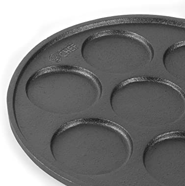 COMMERCIAL CHEF Cast Iron Pancake Pan, Silver Dollar Pancake Griddle, Easy to Clean & Heats Evenly, Makes 7 Mini Silver D