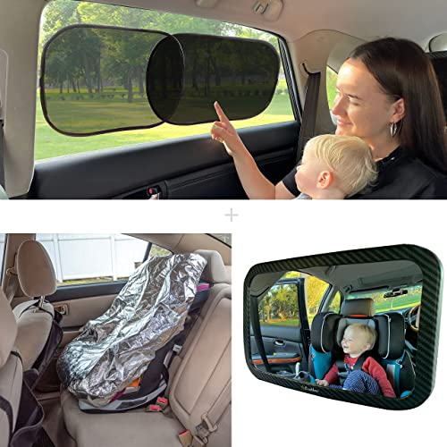 wholesale EcoNour Gift Bundle   Baby Car Sun Shade (4 Pack lowest 21x14 Inches) + Baby Car outlet sale Seat Mirror + Baby Seat Sunshade Cover   Total Sun Glare and Heat Protection   Safely Monitor Your Kids outlet sale