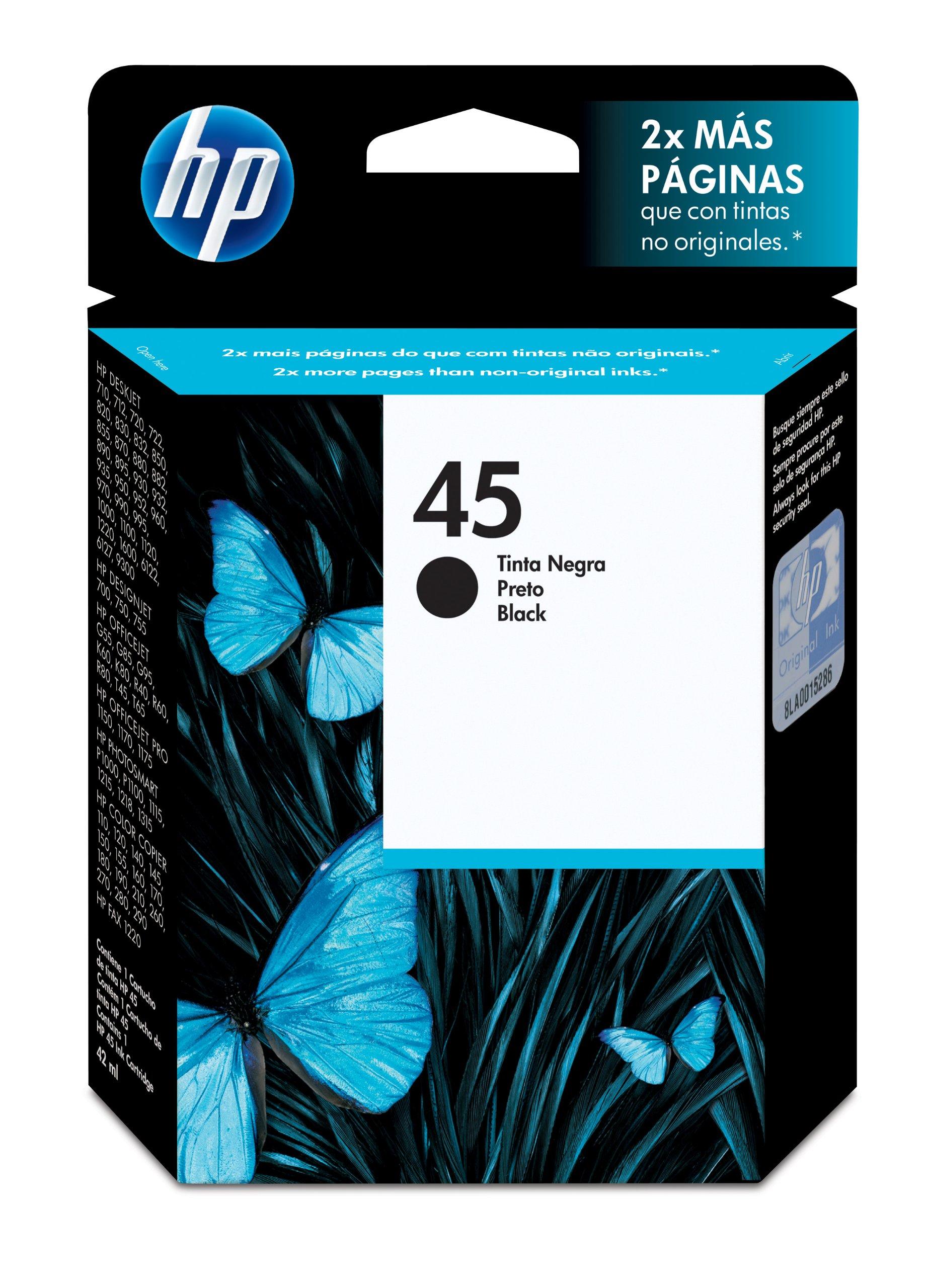 HP 45 Black Original Ink Cartridge - Cartucho de tinta para impresoras: Amazon.es: Oficina y papelería