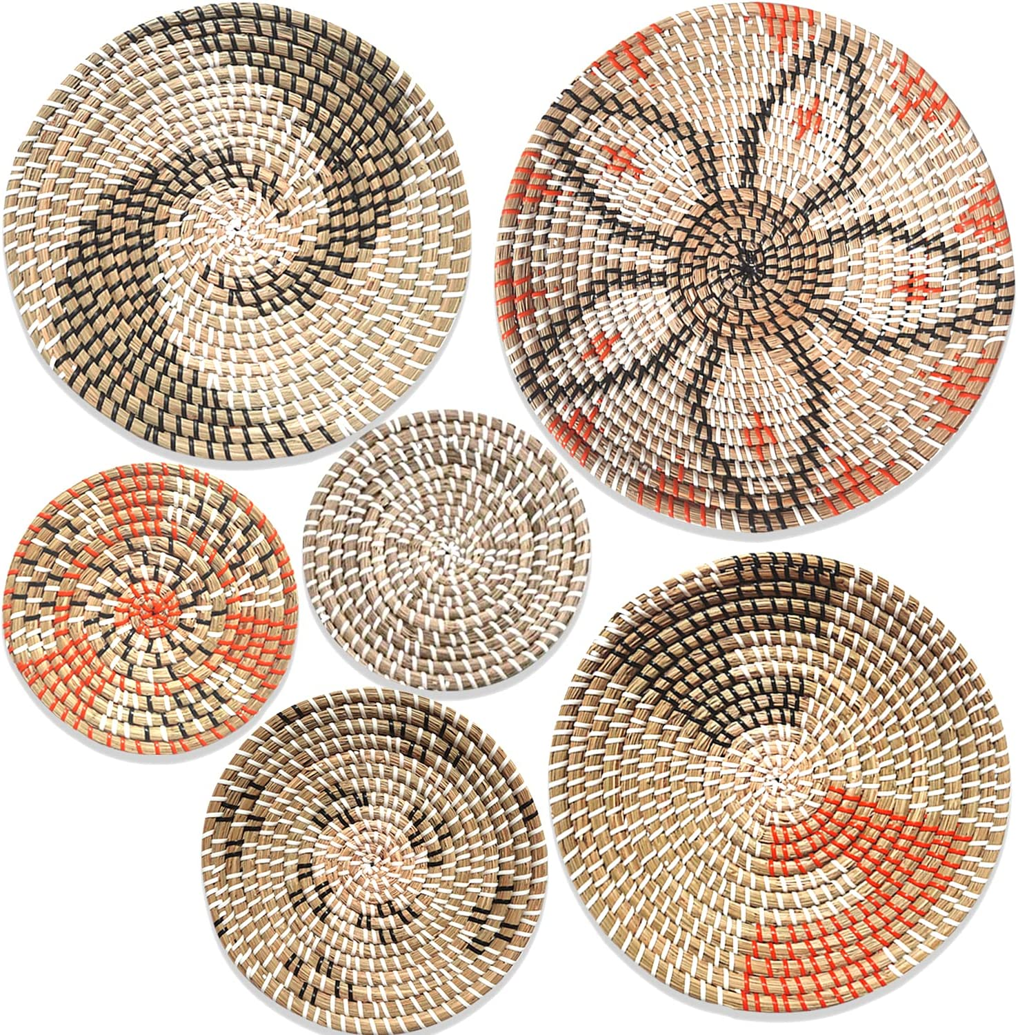 Hanging Woven New popularity Wall Basket Detroit Mall Decor Baskets of 6 Set Seagrass