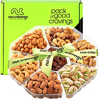Best Gourmet Nut Gift Basket, Green Ribbon (7 Mix Tray) - Valentine Food Arrangement Platter, Care Package Variety, Prime Birthday Assortment, Healthy Kosher Snack Box for Families, Women, Men, Adults Review