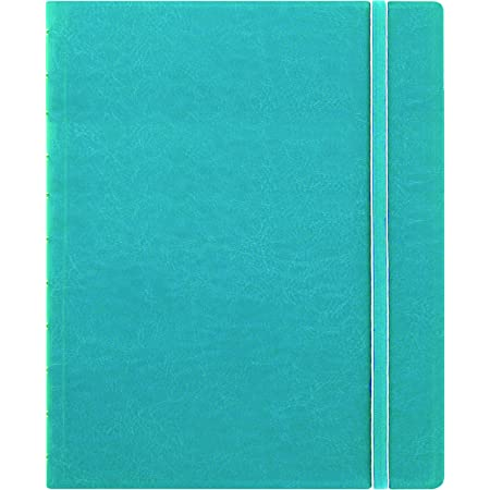 """Filofax REFILLABLE NOTEBOOK CLASSIC, 10.8"""" x 8.5"""" Aqua - Elegant leather-look cover with moveable pages - Elastic closure, index, pocket and page marker (B115106U), Letter Size"""