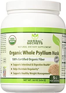 Herbal Secrets USDA Certified Organic Psyllium Husk 16 Oz (Non-GMO)- Vegan, Dairy Free, Gluten Free, no Sugar-Supports Int...