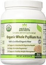 Herbal Secrets USDA Certified Organic Psyllium Husk 16 Oz (Non-GMO)- Vegan, Dairy Free, Gluten Free, no Sugar-Supports Intestinal & Digestive Health,Supports Healthy Weight Management*