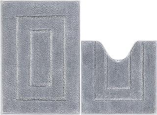 Famibay Tapis de Bain et WC 2 Pieces Microfibre Gris Tapis de Salle de Bain Absorbant 50x80cm Carpette de Toilette Antider...