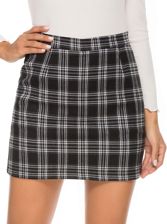 HUILAN Women's High Waist Plaid Tweed A-Line Mini Skirt