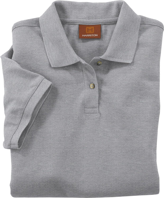 Harriton Ladies 6 oz Ringspun Cotton Pique Short-Sleeve Polo M200W XL Grey Hthr