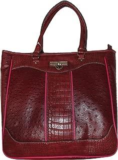 US Polo Assn Womens Purse Handbag Oxford Ostrich Top Zip Tote Wine