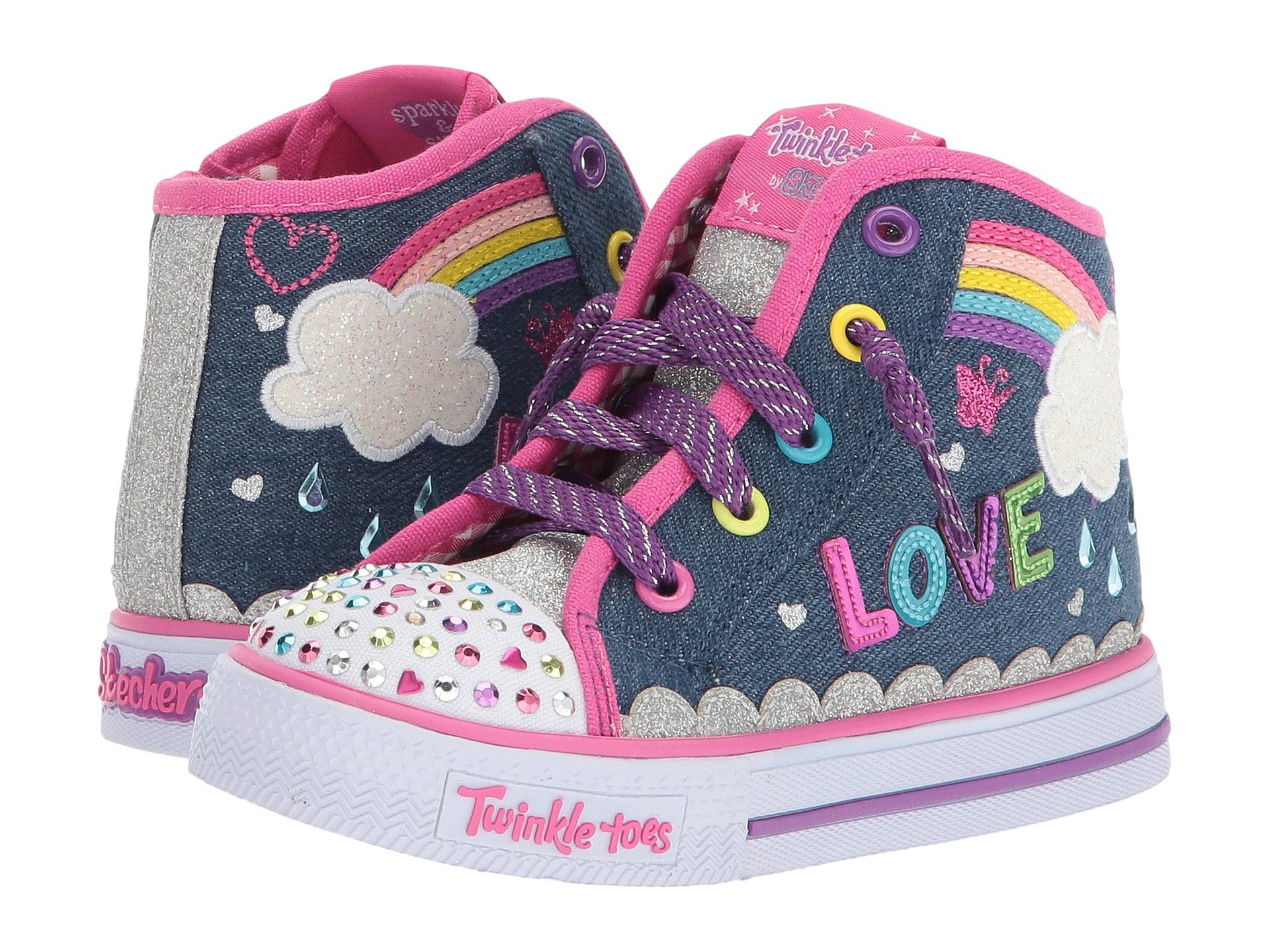 sketchers toddler girls. skechers kids - shuffles sparkle skies 10874n lights (toddler/little kid) sketchers toddler girls