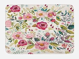 Lunarable Floral Bath Mat, Shabby Form Flowers Roses Petals Dots Leaves Buds Spring Season Theme Image Artwork, Plush Bathroom Decor Mat with Non Slip Backing, 29.5