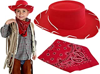 Red Cowboy Hat with Decoration Western Bandana Dress Up Woody Custome for Adults Kids Boys and Toddlers, Best Fit for Halloween, Christmas, Birthday Theme