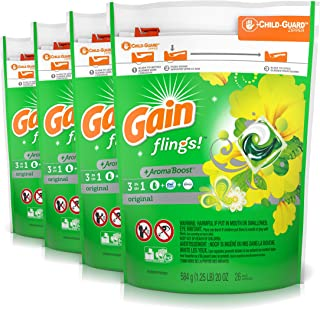 Gain Flings Laundry Detergent Pacs, Original, 104 Count (Packaging May Vary)