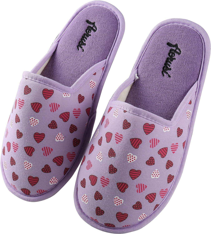 Aerusi Women's Cotton Heart Print Close Toe Memory Foam Slip On Indoor Clog Scuff Slipper Bedroom Indoor House shoes