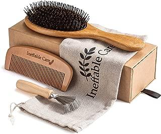 Boar Bristle Hair Brush Set for Women & Men - Wooden Comb & Detangling Hair Brushes for Women Long, Thick, Thin, Fine, Curly & Tangled - Natural Detangler Hairbrush & Comb Stocking Stuffers Gift set