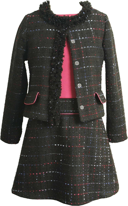 Bonnie Jean Big Girls' Boucle Jacket over Drop Waist Dress