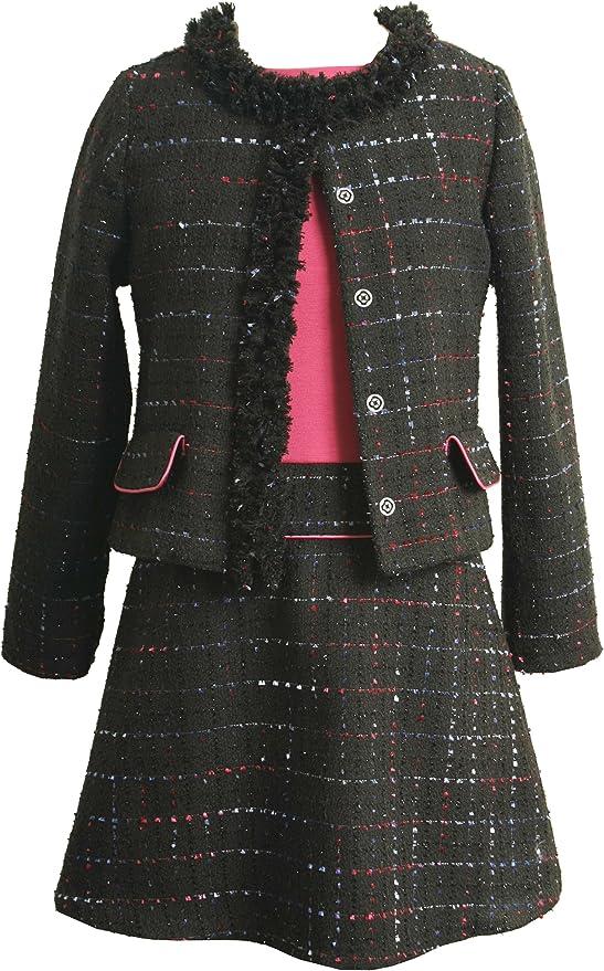 60s 70s Kids Costumes & Clothing Girls & Boys Bonnie Jean Big Girls Boucle Jacket over Drop Waist Dress  AT vintagedancer.com