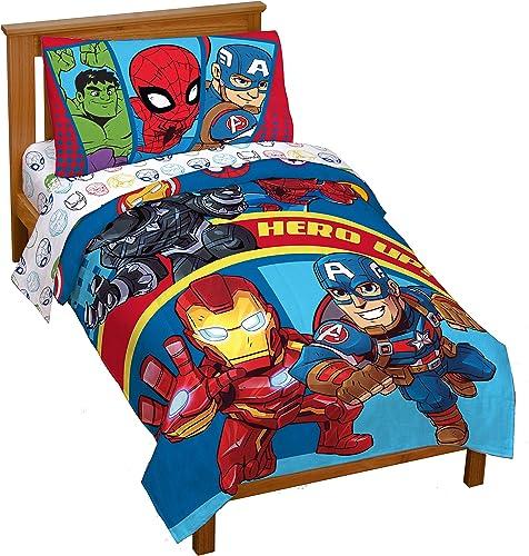 Marvel Super Hero Adventures Double Team 4 Piece Toddler Bed Set – Super Soft Microfiber Bed Set - Bedding Features C...