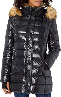 Women's Chelsea Mid Length Down Puffer with Faux Fur Trimmed Hood
