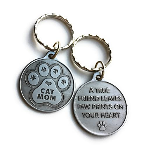Cat Mom - A True Friend Leaves Paw Prints On Your Heart Keychain Pewter  Color 4559cd8f99