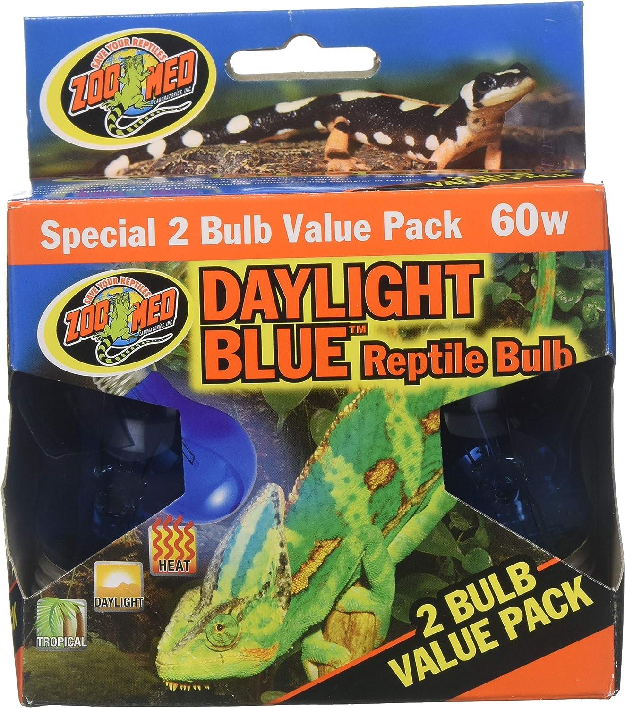 (3 Boxes) Zoo Med 2Pack Daylight bluee Reptile Bulb, 60watt  6 Bulbs Total