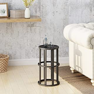 Christopher Knight Home Cassie Indoor Industrial 11 Inch Finish Side Table, Grey Ceramic Tile/Black Metal