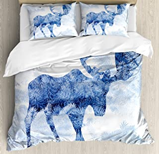 Ambesonne Moose Duvet Cover Set, Blue Pattern Pine Needles Spruce Tree with Antlers Deer Family Snow Winter Horns, Decorative 3 Piece Bedding Set with 2 Pillow Shams, Queen Size, Blue White