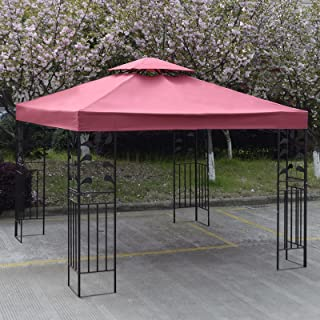 SUNDRY 10' X 10' Gazebo Top Cover Patio Canopy Replacement 1-Tier or 2-Tier 3 Color Protection Against UV Rays from Sun (2 Tier Red)
