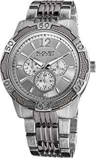 August Steiner Men's Large Fashion Watch - Sunburst Dial with Day of Week, Date, and 24 Hour Subdial onToneand Band - AS8058