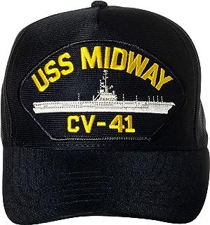 United States Navy USS Midway CV-41 Aircraft Carrier Ship Emblem Patch Hat Navy Blue Baseball Cap