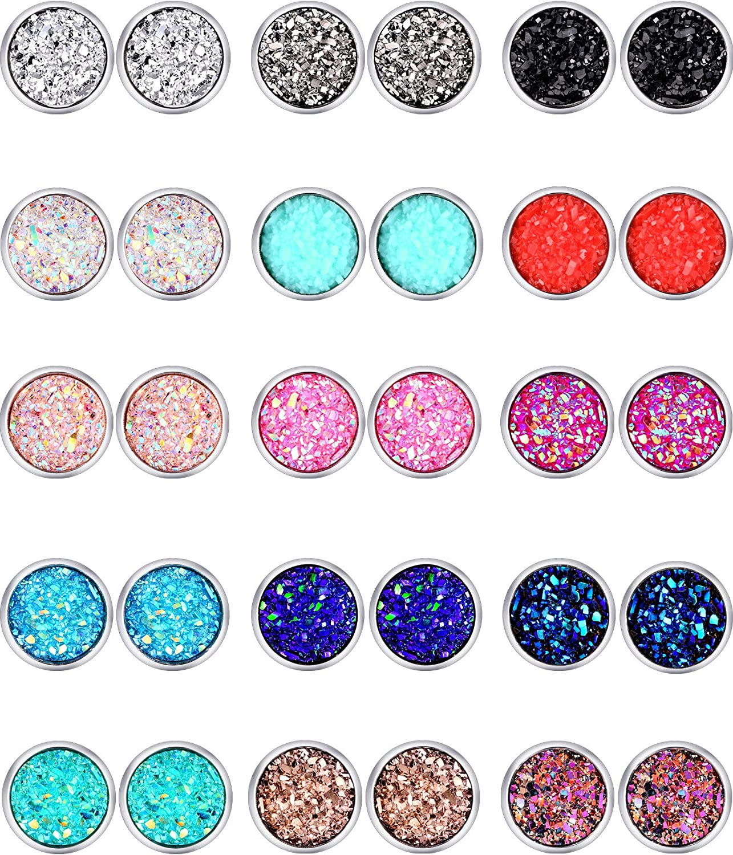 15 Pairs Faux Druzy Stud Earrings Set Bohemian Glitter Pierced Earrings Stainless Steel Round Earrings for Women