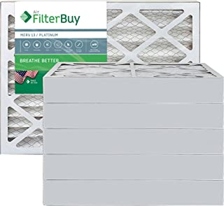 FilterBuy 20x20x4 MERV 13 Pleated AC Furnace Air Filter, (Pack of 6 Filters), 20x20x4 – Platinum
