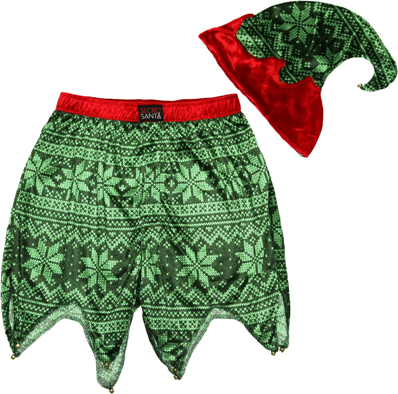 Secret Santa Mens Holiday Sleepwear Jam Shorts and Hat Set