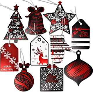 120 Christmas Gift Tags with Ribbon Tie Strings Attached 10 Elegant Red Foil Black & White Designs Personalized Holiday Name Tag Labels Write On to and from for Gift Bags Wrapping Presents & Packages