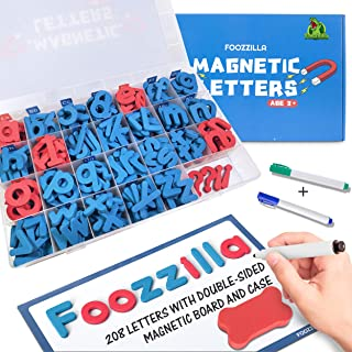 FOOZZILLA Magnetic Letters Classroom Kit with 210 Pcs and Double-Sided Magnetic Board - ABC Learning and Spelling Foam Alphabet Magnet Letter Set for Kids, Teacher and School