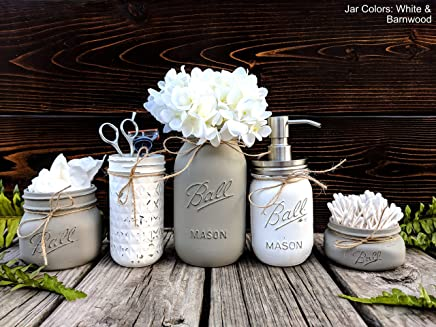 5 Piece Mason Jar Bathroom Set With Soap Dispenser. Mason Jar Decor Includes Soap Pump, Cotton Swab Holder, Tissue Holder, Toothbrush Holder, and Flower Holder.