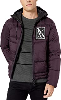A|X Armani Exchange Men's Ribbed Puffer Jacket with Hood and Stripe Down Back
