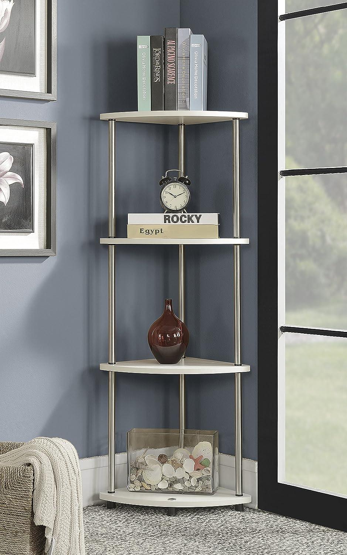 Convenience Concepts 111075W Designs2Go 4-Tier Corner Shelf, White