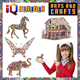 IQ BUILDER | ARTS AND CRAFTS FOR GIRLS AGE 7 8 9 10 11 12 YEAR OLD AND UP | 3D ART COLORING PAINTING ANIMAL PUZZLE SET | FUN CREATIVE DIY TOYS | FAMILY CRAFT KIT WITH SUPPLIES | BEST TOY GIFT FOR KIDS