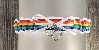 SEXY White Rainbow Wedding Tossing Demi Bridal Garter - Double heart Charm