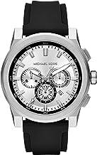 Michael Kors Men's Grayson Stainless Steel Analog-Quartz Watch with Silicone Strap, Black, 24 (Model: MK8596)