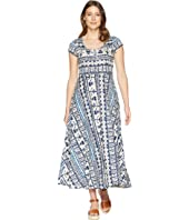 Short Sleeve Batik Cotton Jersey Maxi Dress