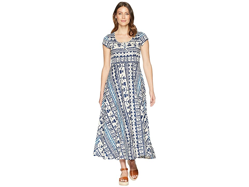 CHAPS Short Sleeve Batik Cotton Jersey Maxi Dress (Cream Multi) Women